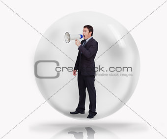 Businessman with megaphone in a bubble