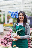 Woman holding a flower in the garden centre
