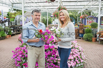 Couple choosing flowers