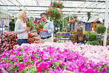 Couple choosing flowers in the garden centre