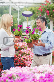 Couple discussing flowers