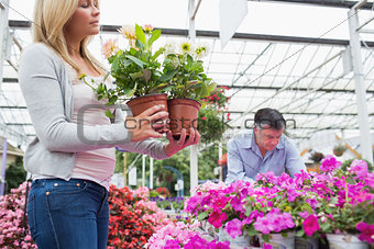 Couple choosing two plants