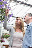 Couple looking at flowers in hanging basket