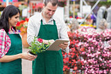 Garden center workers using tablet pc to check flowers