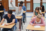 Boy raising hand during exam