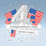 Festive USA independence day postcard