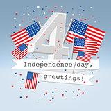 Festive USA independence day postcard