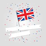 British flag over festive background