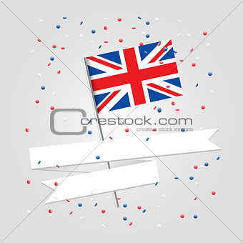 British flag over festive background
