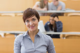 Woman standing at the lecture hall