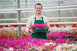 Man holding array of flowers in greenhouse