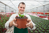 Man holding a potted plant up