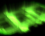 Abstract luminous green squares