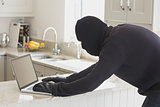 Robber using laptop