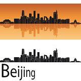 Beijing skyline in orange background