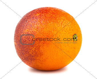 Single blood red orange fruit