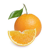 ripe round orange with slice