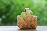 green apples in a birchbark basket