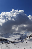 Snow mountains and blue sky with cloud