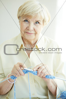 Female knitting