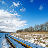 railroad to sunset. winter time