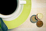 euro currency and coffee cup