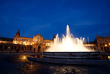 fountain by Plaza de Espana at night