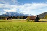 wooden huts on alpine meadows, Germany