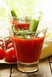cold tomato gazpacho soup with cucumber and arugula