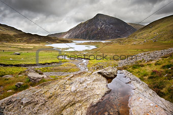 Landscape over Llyn Idwal towards Pen-yr-Ole-Wen in Snowdonia Na