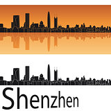 Shenzhen skyline in orange background