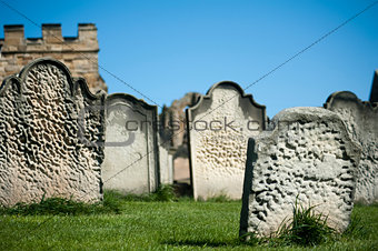 Old weathered gravestones