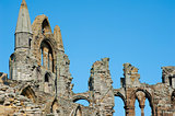 Close-up of the Whitby Abbey gothic ruins