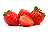 group of fresh strawberries isolated on white background