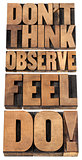 observe, feel and do