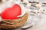 Red heart in the nest with feathers