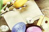 Easter frame with vintage postal card