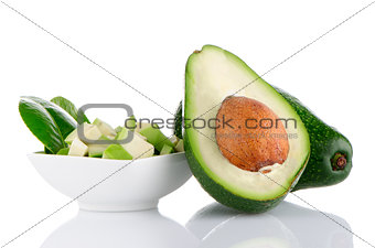 Avocados on white