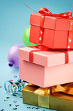 Stack of colorful gift boxes