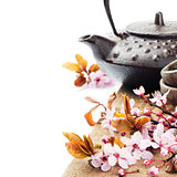 Asian tea pot with cherry blossom
