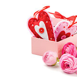 Two Valentine hearts in gift box