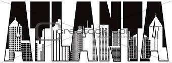 Atlanta Georgia City Text Outline Illustration