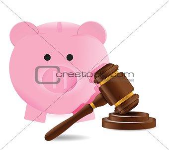Law gavel and piggy bank illustration design