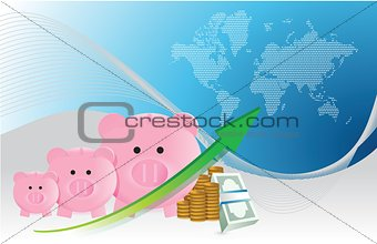 Savings concept with piggy banks chart