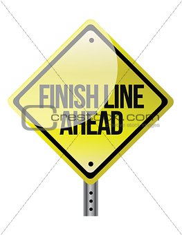 A road sign announcing the finish line coming up.