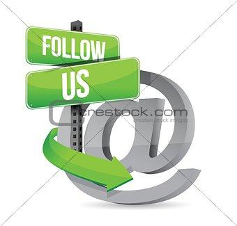 follow us at sign illustration design