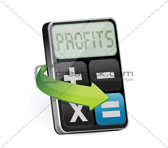 Calculator with profit on display illustration