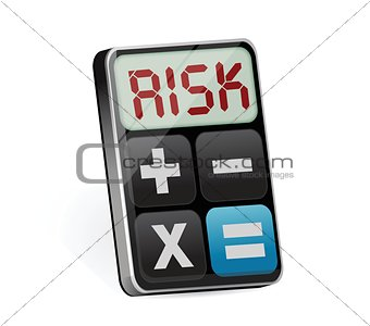 Calculator with risk on display illustration