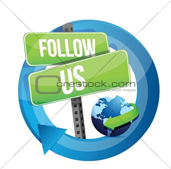 Follow us road sign illustration design