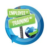 employee training road sign illustration design